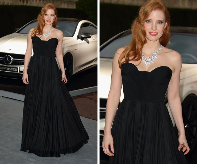 Jessica Chastain keeps it simple yet glamorous in black in 2014.