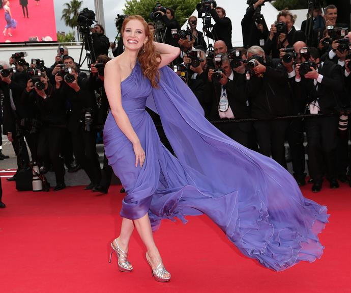 Jessica Chastain got a bit swept away with the wind in 2014.