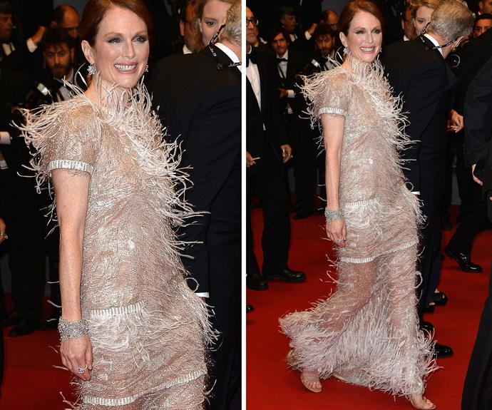 Julianne Moore's feather look went wild in the breeze too in the windy French seaside town.