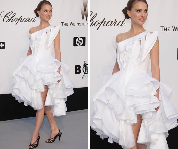 Natalie Portman looking very swan-like in white in 2008.