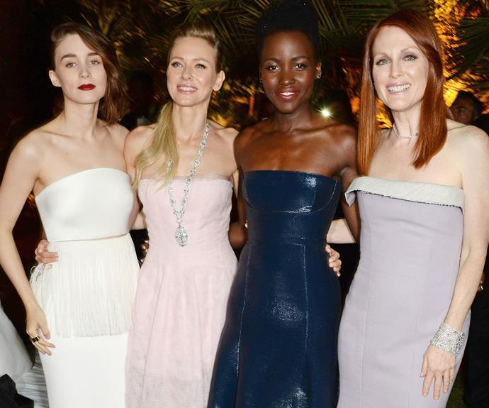 What a star-studded  line up! Rooney Mara, Naomi Watta, Lupita Nyong'o and Julianne Moore look very glamorous as they attend a star-studded part in Cannes.