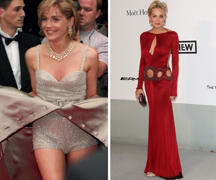 Sharon Stone has had a couple of controversial red carpet moments in Cannes - in a rather-revealing unbuttonable dress in 1995, then again just last year in 2014, in a revealing cut away dress.