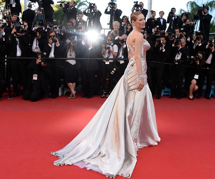 The glistening frock looked stunning from behind too!