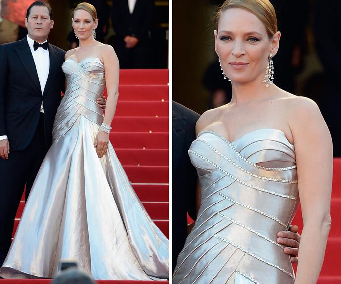 Uma Thurman looked immaculate in this metallic sculptural design in 2013.