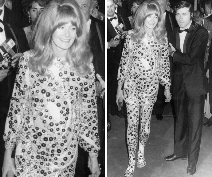 One of the original rebels: Vanessa Redgrave, made a bold statement in this psychedelic outfit with VERY big hair.