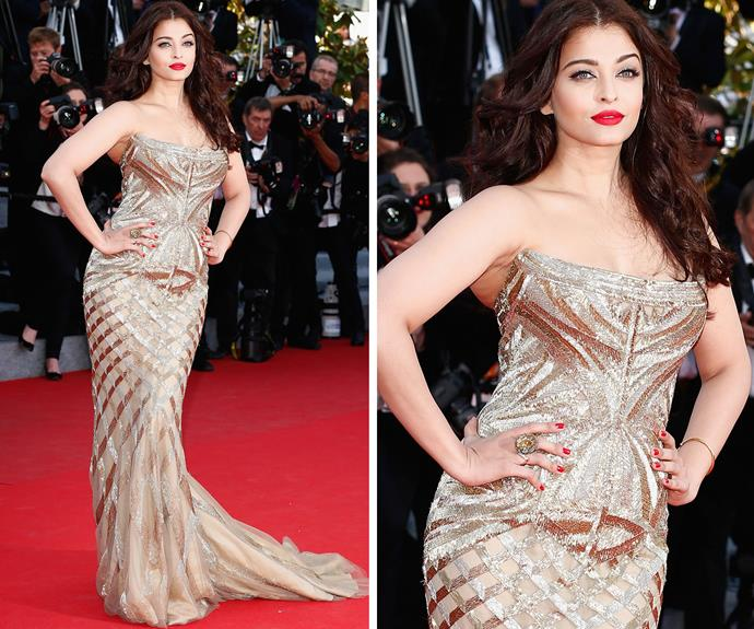 Bollywood icon and former Miss World Aishwarya Rai looked glistening in gold in 2014.