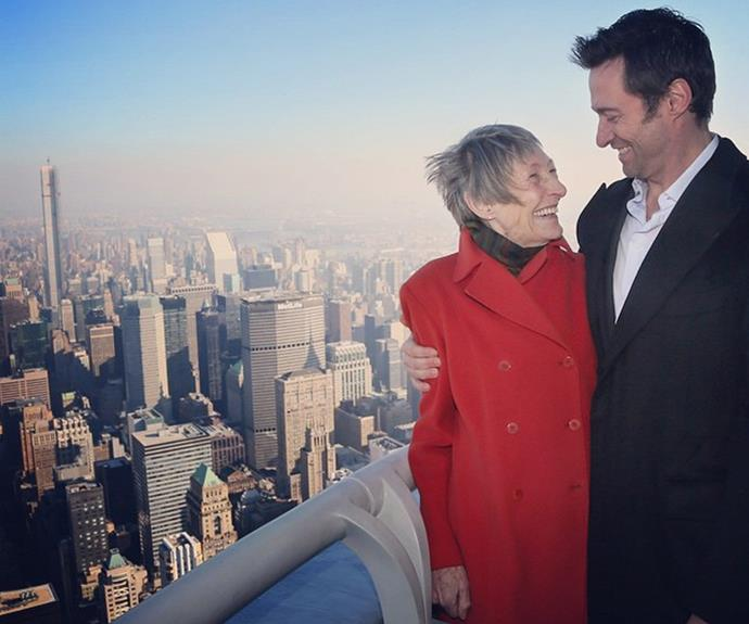 "Proud son Hugh Jackman shared this amazing snap with his mum, Grace. Despite having a troubled relationship in the past after Grace walked out on him when he was a child, the actor has made peace with her. ""I am 43 now and we have definitely made our peace, which is important. I was always quite connected with my mum. I have a good relationship with her."""