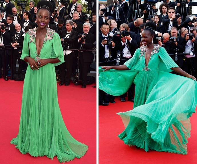 Lupita Nyong'o dazzled in emerald green.