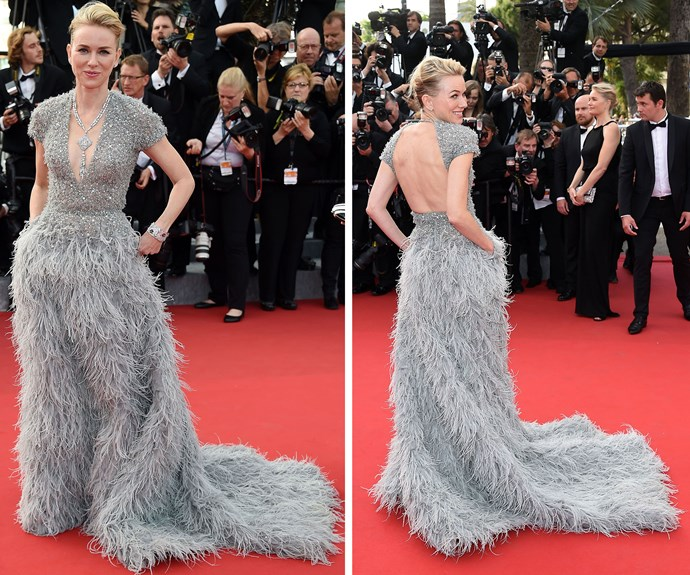 Aussie actress Naomi Watts looked positively stunning in this floor-length feathered gown.