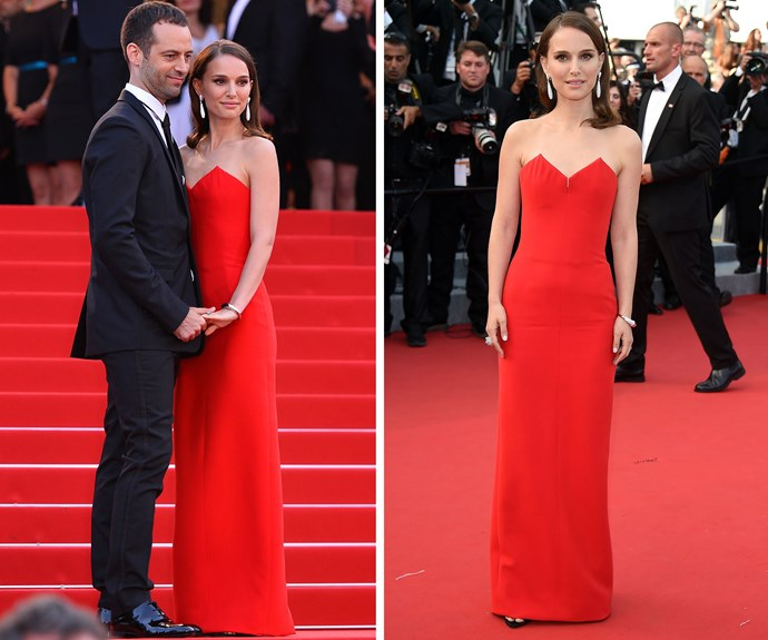 Natalie Portman kept it simple and chic in this stunning red dress.
