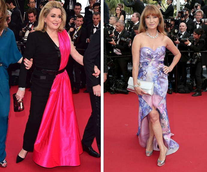 Iconic French Actress Catherine Deneuve and former Bond girl Jane Seymour made some rather interesting outfit choices.