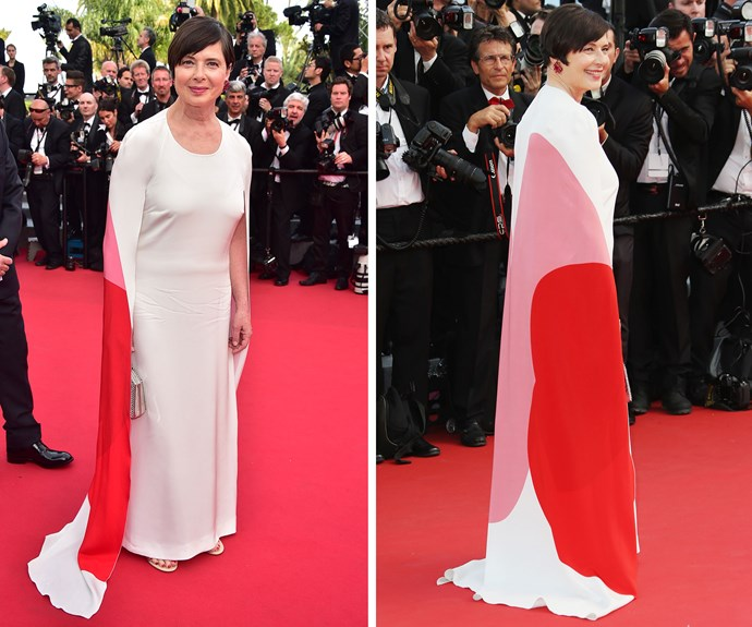 Iconic Italian actress Isabella Rossellini made a bold statement in this chic caped gown.