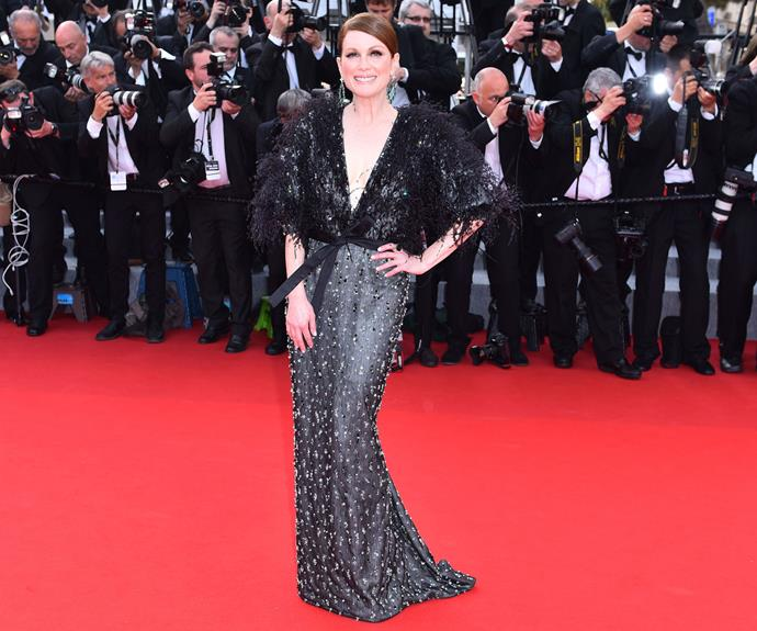 Julianne Moore wowed the crowd in this stunning feathered gown.