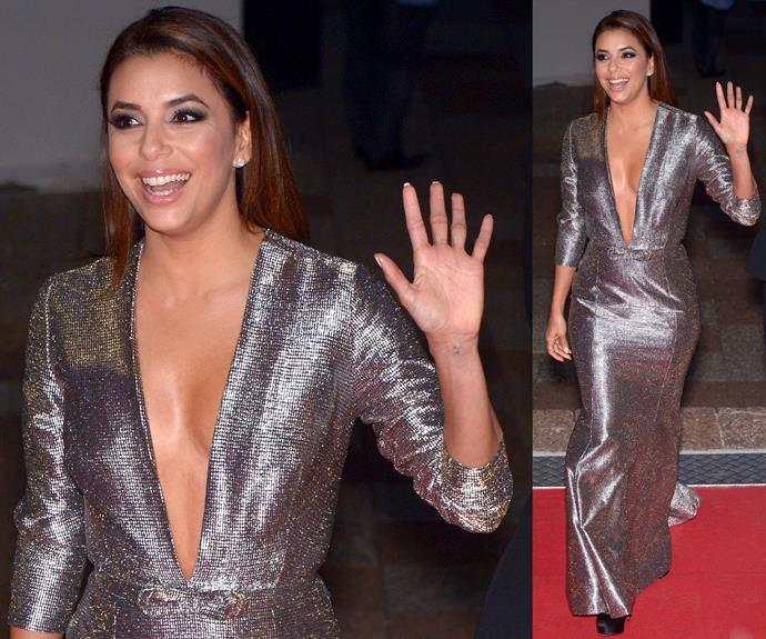 Eva Longoria looks beautiful in the silver dress.