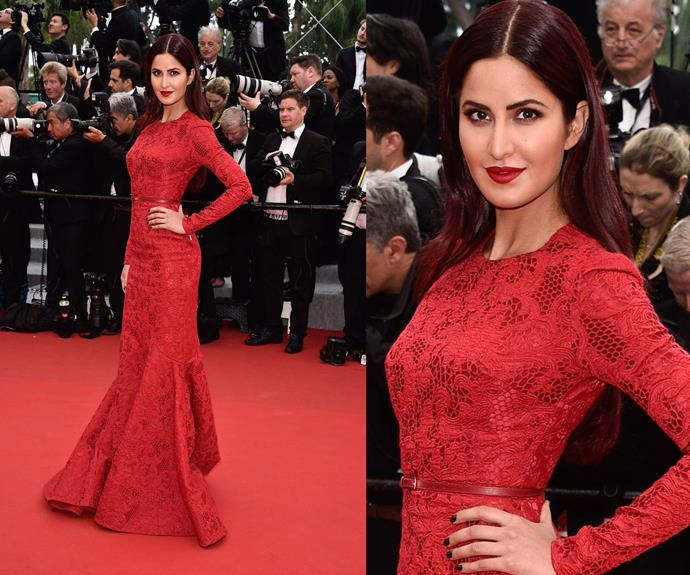 Bollywood starlet, Katrina Kaif smolders in the red number.