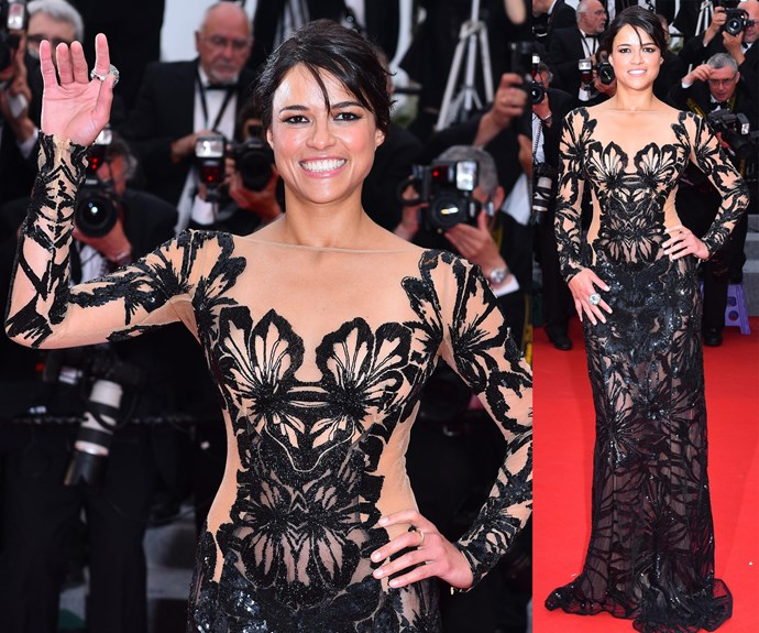 Michelle Rodriguez shows off her amazing physique in this stunning cut-out dress.