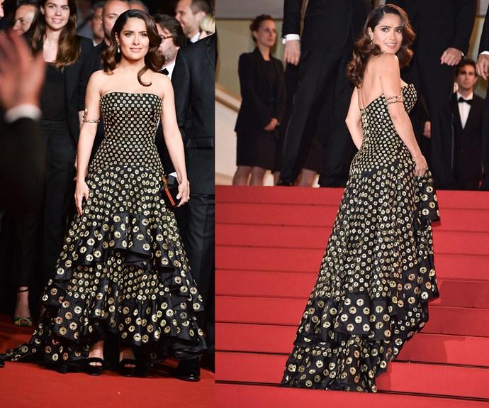 Va va Voom Salma Hayek. We adore her fun dress.