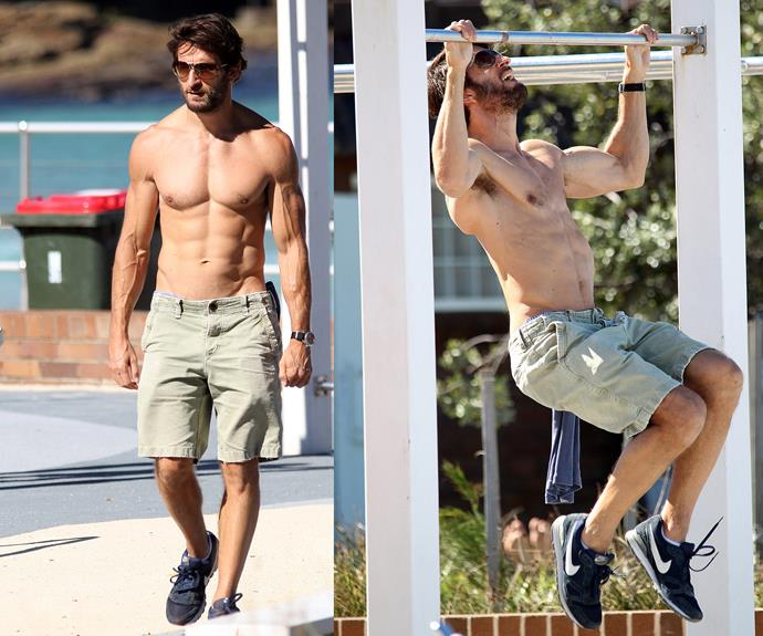 Love Child's Jonathan Lapaglia was spotted at Sydney's Bondi Beach, fitting in a workout session. The on-screen doctor makes it look like a walk in the park!