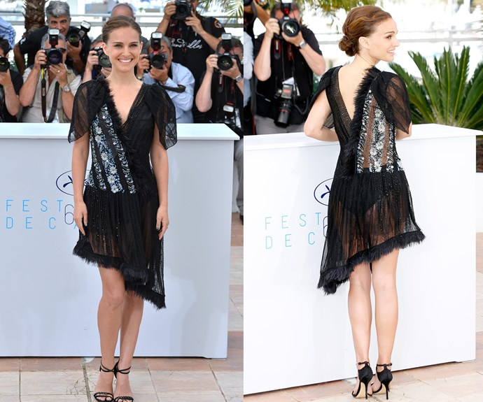 """Natalie Portman shows off her cheeky side in this sheer Rodarte dress. In her  directorial debut for""""A Tale of Love and Darkness,"""" the 33-year-old glowed in the sheer black number with its intricate floral beading sultry sheer skirt that showed off her derriere!"""