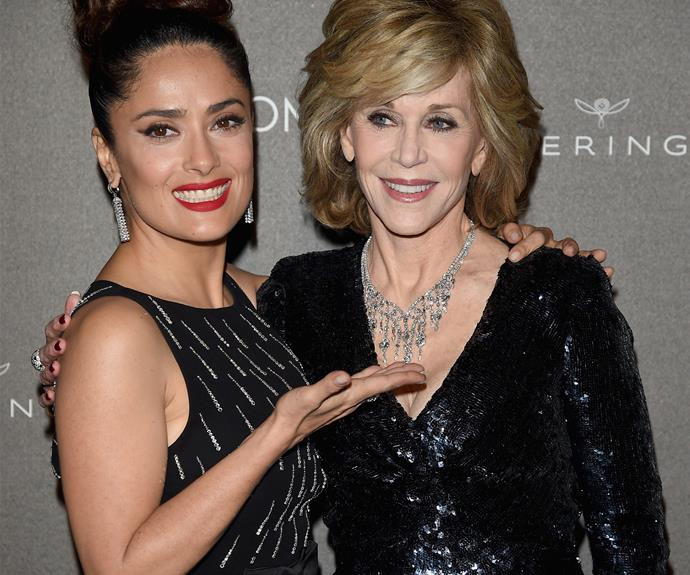 Looks like Salma is fond of the work-out queen, Jane Fonda!