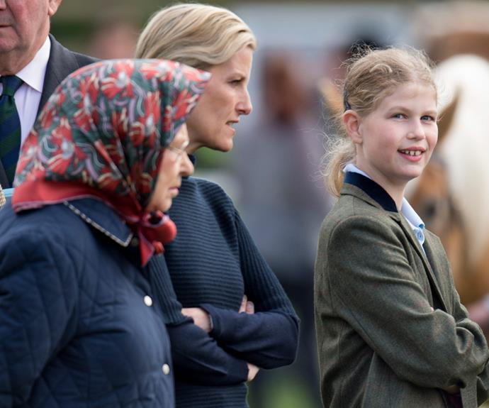 The Queen spending quality time with her daughter-in-law Sophie Countess of Wessex and granddaughter Lady Louise Windsor