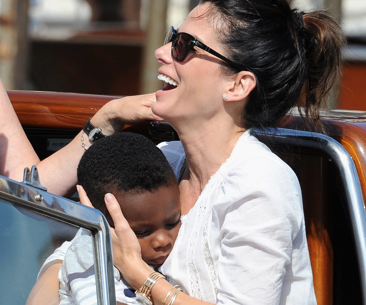 Sandy with her adorable five-year-old boy, Louis. The Hollywood star adopted her son back in 2010.