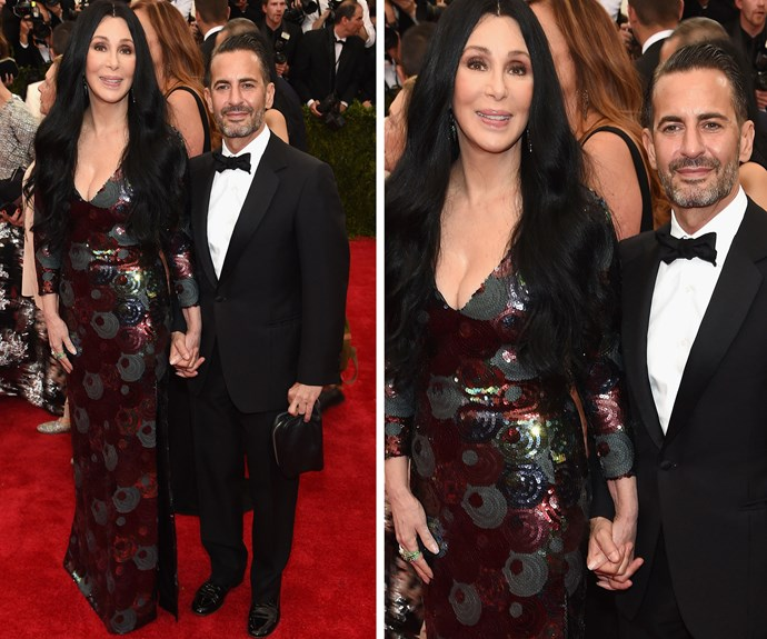 The statuesque beauty, joined by designer Marc Jacobs, stuns at the 2015 Met Gala in New York.