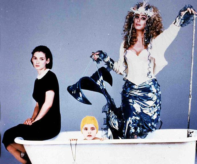 The queen of reinvention earns a legions of new of fans as she teams up with Winona Ryder and a baby-faced Christina Ricci in the 1990 flick, *Mermaids.*