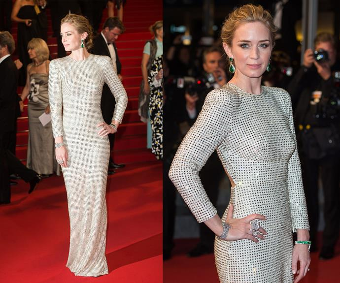 Emily Blunt is a goddess in this white embellished dress.