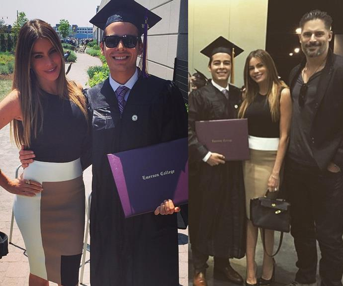 Sofia Vergara was proud mama after her son, Manolo graduated from college. Future step-dad, Joe Manganiello was there joining in celebrations.