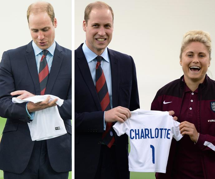 Prince William adored Charlotte's little jersey.