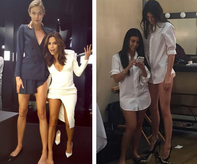 """""""Why was @karliekloss born with these legs and not me!! #notFair #DynamiteComesInSmallPackages,"""" Eva Longoria recently joked as she cuddled up to model Karlie Kloss. Meanwhile proud mama Kris Jenner shared this shot of her daughters Kourtney Kardashian and Kendall Jenner, writing: """"Not sure how this happened but I gave birth to both of them."""""""