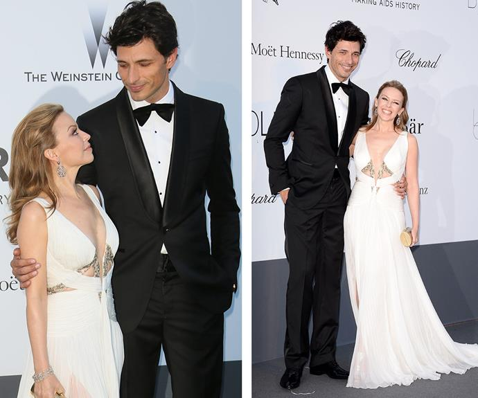 Even with heels, on pop princess Kylie Minogue was still noticeably shorter than her now-ex-boyfriend, Spanish model Andres Velencoso.