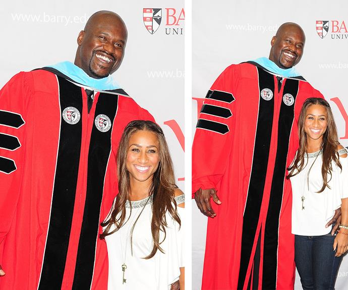 """Sarah Michelle needn't worry too much though, Shaquille towers over pretty much everyone including his five foot two girlfriend, Nicole """"Hoopz"""" Alexander."""