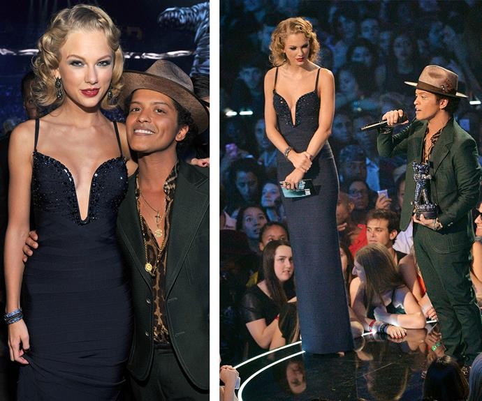 Not even Bruno Mars' oversized hat could help him catch up to statuesque Taylor Swfit's shoulders when the pair took to the stage at the 2013 MTV Video Music Awards.