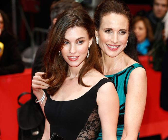 Andie MacDowell with her daughter Rainey Qualley. It's clear she has inherited her mum's classic features.