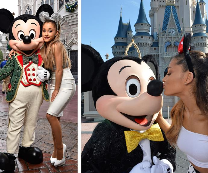 Having a Grande time! Looks like singer Ariana Grande might by vying for Mickey Mouse's heart.