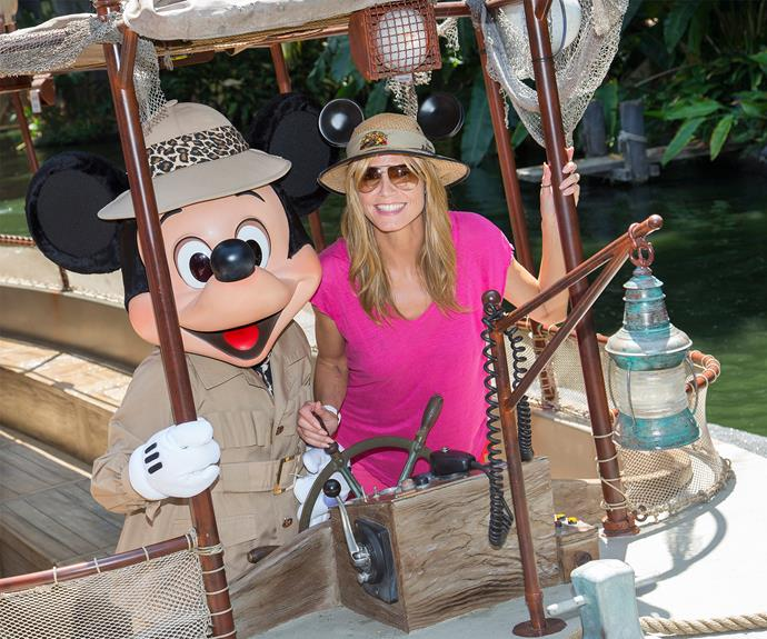 Heidi Klum goes on safari, complete with mouse ears.
