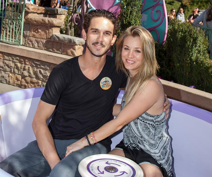 Kaley Cuoco has a spinning time with ex-hubby, Ryan Sweeting.