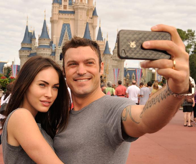 New home? Megan Fox and Brian Austin Green taking in the sights as they snap a selfie.