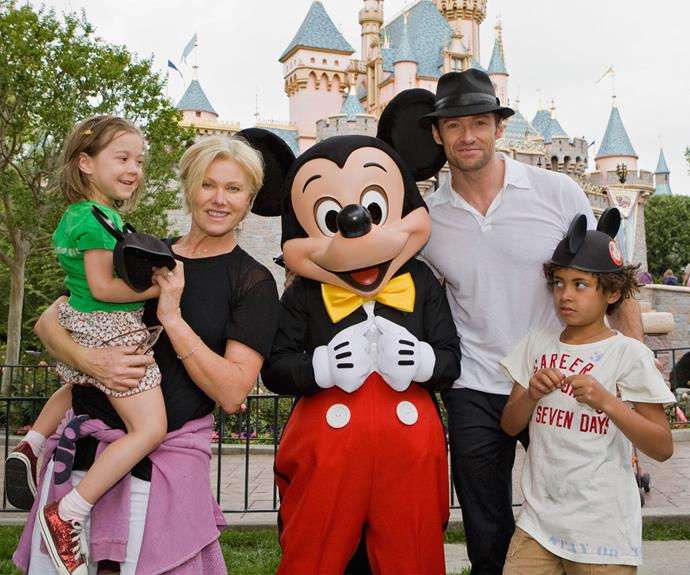 Hugh Jackham and wife, Deborra-Lee Furness press pause on their busy lives to take Ava and Oscar to the home of Mickey Mouse.