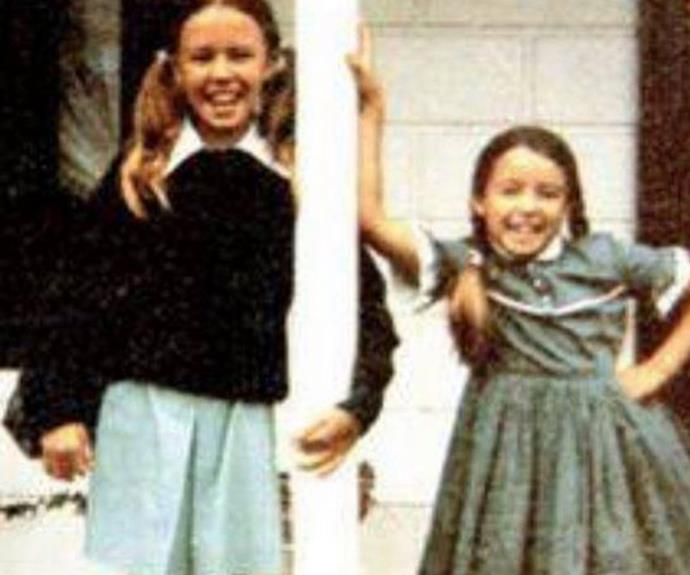 Kylie as a child with her younger sister Dannii Minogue.
