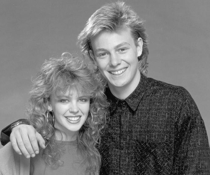 Thanks to her breakout role on *Neighbours*, Kylie fast became a household name. Her on-screen wedding to Jason Donovan's character Scott commanded an audience of 20 million viewers in the UK alone. Not bad when you consider those mullets.