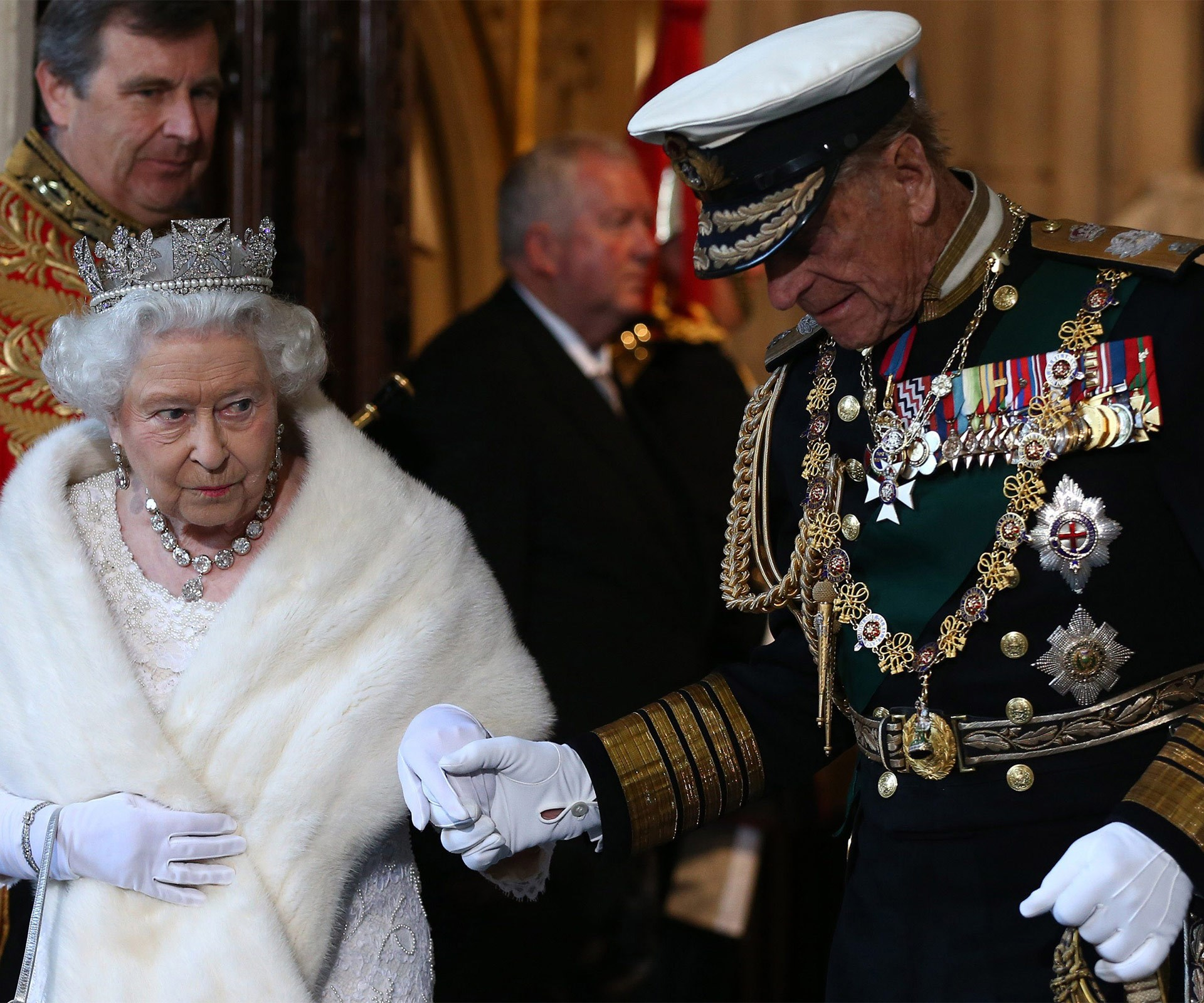 Prince Philip is the ever-doting husband, caring for his wife, the Queen, as he holds her hand through life.