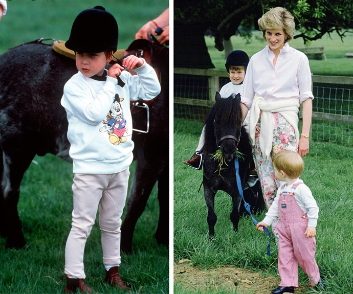 Diana loved to take her boys out to ride. Prince Harry looks like he's eager to have a go after his big brother.