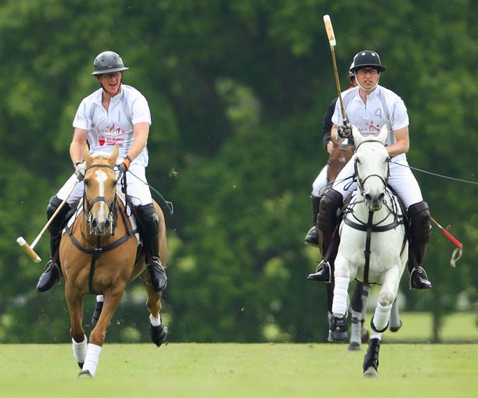 Harry and Wills looking like pros on ponies.