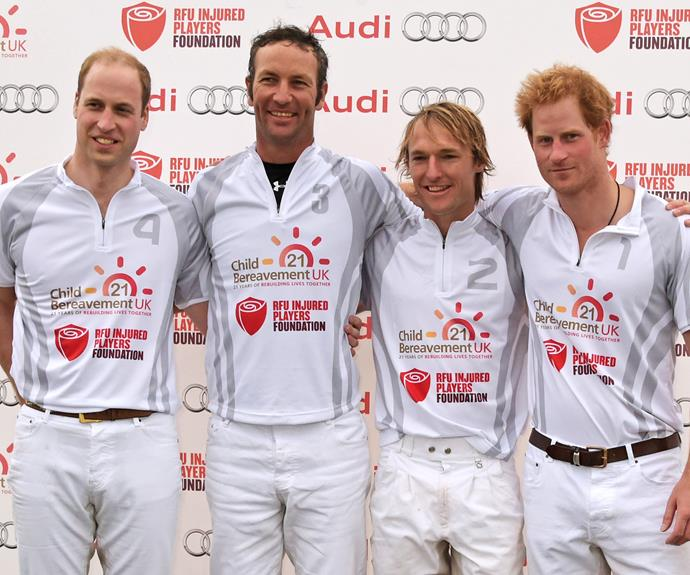 Prince Harry and Prince William at the Audi Polo Challenge in Ascot, England.