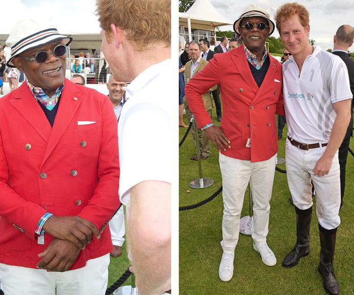 """Samuel L. Jackson shared a sweet massage to his fans: """"Prince Harry was on the winning team! Met him years ago at St. Andrews. Good kid then, good Man now,"""" he wrote."""