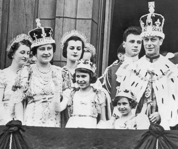 When Elizabeth was born she was third in line to the throne, behind her uncle Edward and her father.  Elizabeth was never expected to become Queen as it was thought her uncle would have children. However, when her grandfather, the King, died her uncle Edward succeeded, only to abdicate later that year after he proposed marriage to divorced socialite Wallis Simpson. This sparked a constitutional crisis and Elizabeth's father became king, making Elizabeth (front middle) next in line to the throne.