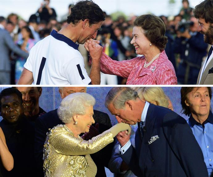 Prince Charles kisses his mother on the hand after she awards him with a prize at a polo match in Windsor.